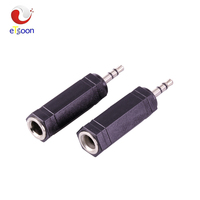 6 Corners Audio Connector 3 Pole Jack 3.5 MM Plug to 6.35mm Stereo Female Socket Adapter