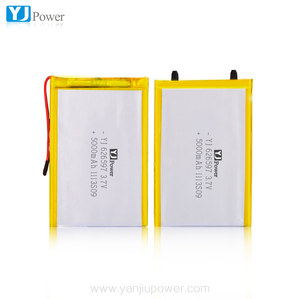 626597 5000mAh 3.7V Rechargeable lithium polymer battery 4400mah