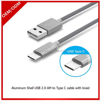 Aluminum Metal Shell USB 3.1 Type C Cables in 1meter with Nylon Braid