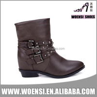 best selling latest ladies low heel strappy studded cool riding boots