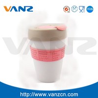 ceramic cup with silione lid and sleeve,starbucks insulated plastic coffee cup with TPR band