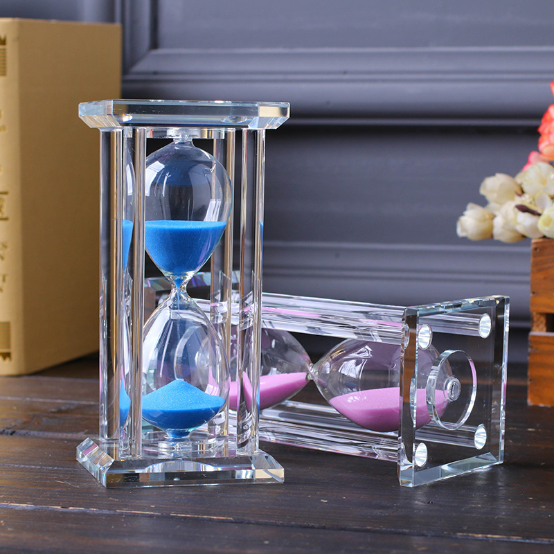 Hotsale 15/30 minutes timer square crystal glass wedding <strong>gift</strong>