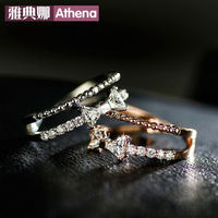 Sterling Silver Korea joint opening can be adjusted bow ring tail ring simple double-fine ring wholesale women