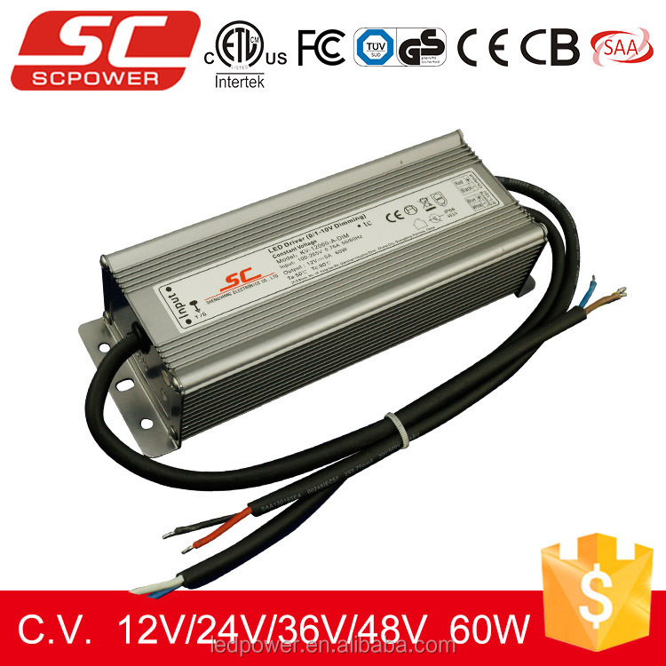 60W 5A 12V Triac dimmable constant voltage led power supply with TUV, CE, RoHS certificate