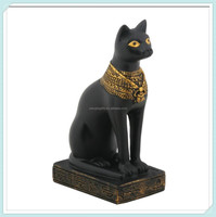 Egyptian black bastet feline cat goddess statue