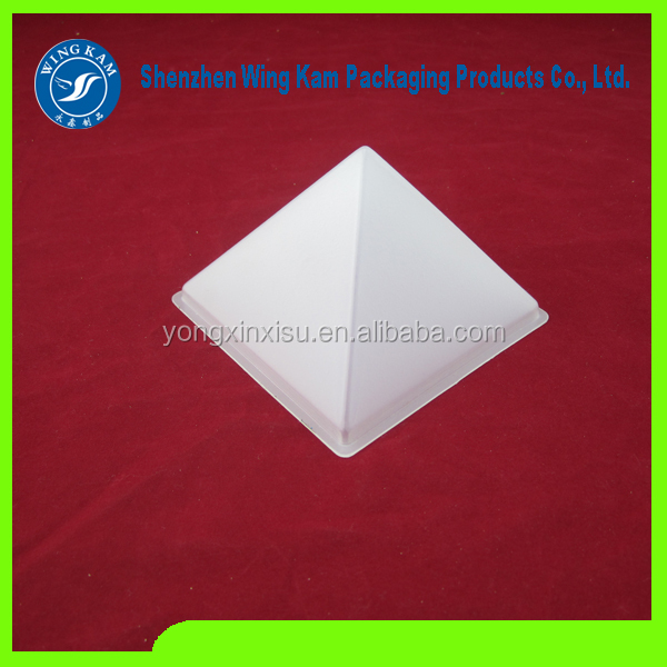 pyramid type special design plastic hard stand packaging box