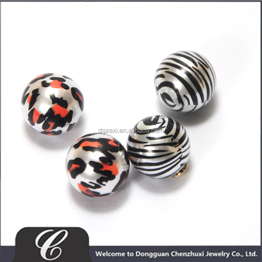 New Product High End Leopard Print Plastic Imitation Pearl for Earrings Making Findings and Components