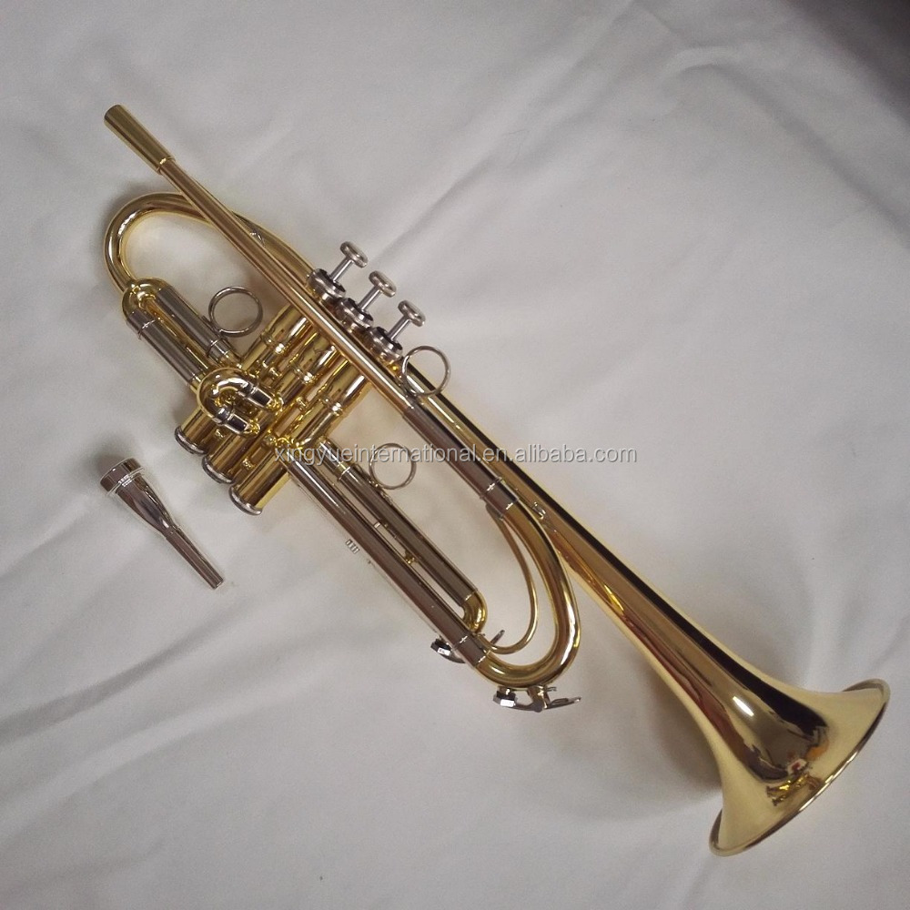 Professinal trumpet gold lacquered finish musical instruments