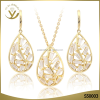2016 Wholesale fashion jewellery african 18K gold hollow water drop necklace wedding jewelry set