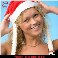PM-1234 Christmas product Christmas hat with braid Christmas hat for lady