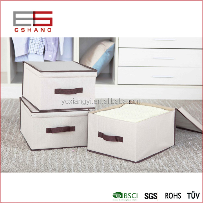 Customizable foldable fabric clothing quilt strong handle storage box with lid