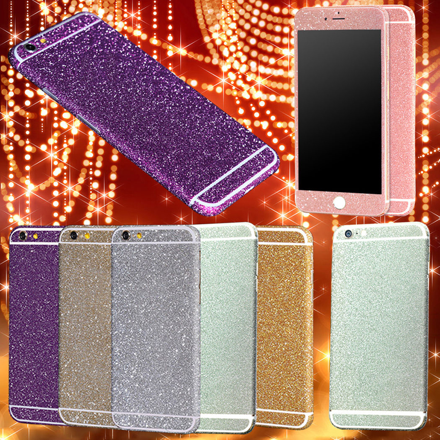 Mobile Phone PVC Sticker Full Body Wrap Decal Bling Giltter Sticker Skin Protector Cover Case for iPhone 6G 6S 6/6S Plus 5S 5 5C