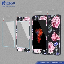 Custom embossed 360 full body clear case phone cover tempered glass screen protector hybrid phone case for iPhone 7 / 7 Plus