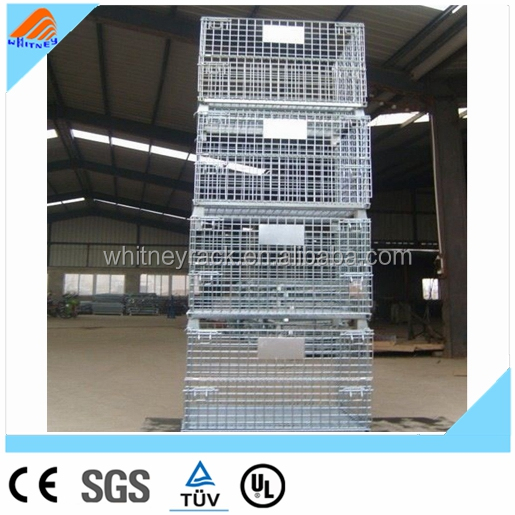 Galvanized collapsable wire mesh cage pallet storage container metal rack with wheels