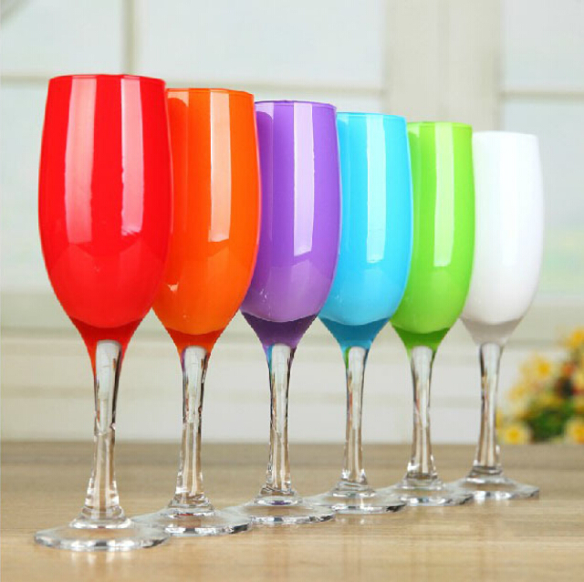 Haonai glassware product 220ml champagne flute glass sprayed color champagne glass