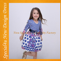 Newest kids party wear dresses for girls fancy spotted girls dress long seleeve girls frock SA-232