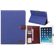 Promotional Retro Jeans Denim Cloth PU leather Stand Wallet Case Cover For ipad air 2, flip case for tablet