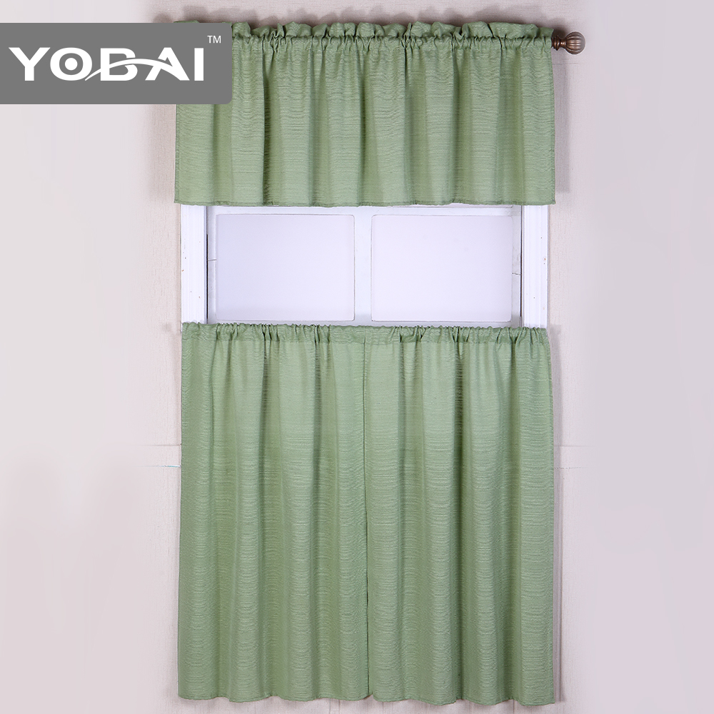 Fashion Polyester Cotton Solid Color Kitchen Window Curtains