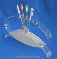 free standing oval-shaped acrylic pen display holder rack for retail manufacturing
