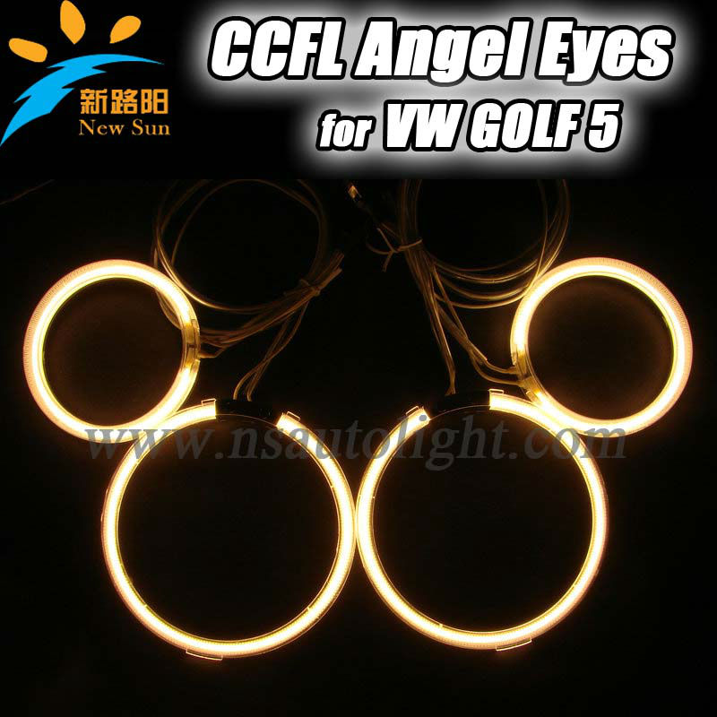 For Volkswagen ccfl angel eyes kits, 7000K pure white round angel eyes for Golf 5 with six color option,Factory directly sale