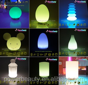 Portable wireless changing color plastic LED vase with best bluetooth speaker