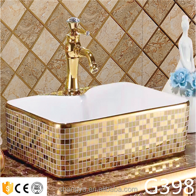 High quality rectangular golden silvery Ceramic countertop art wash basin