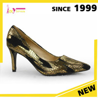 women stylish high heel shoes wholesale China alibaba ladies fancy 7cm heel golden Stone pattern traditional footwear