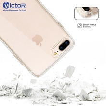 Wholesale soft shock proof custom clear transparent acrylic tpu phone case for iPhone 7 Plus / anti shock crystal case