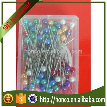 pearl head pins in plastic box packing