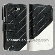 Black + White Wallet Flip Leather Case for Samsung Galaxy Note 2 II N7100