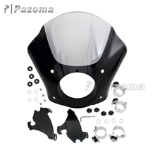 Pazoma 49MM for Dyna Models Plastic Black & Clear Motorcycle Headlight Gauntlet Fairing for Harley-Davidson