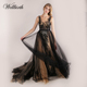 Black long lace spaghetti strap sleeve evening gown bare back sexy turkish maxi mia Bohemian bride evening dresses for women