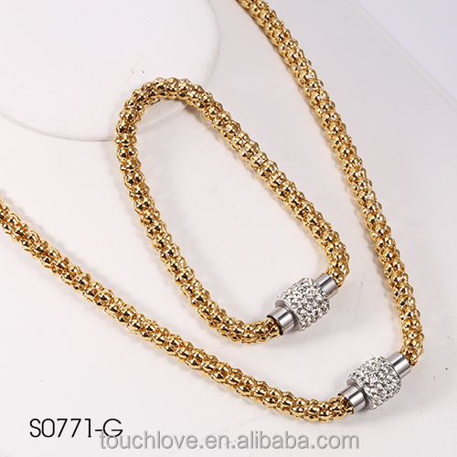 S0771-G-TLKH 18k Gold Plating crystal necklace Jewelry , Custom Design Jewelry, stainless steel jewelry For Branded