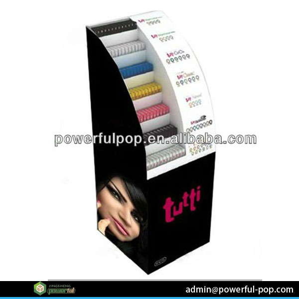 creative custom design half circle cardboard display stands for cosmetics
