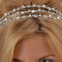 wholesale fashion metal silver plated crystal tira hair band for women