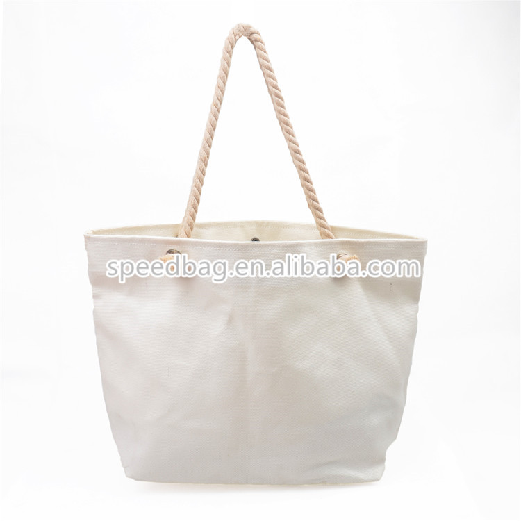 2015 cheap hot sale women shoulder bag rope handle blank canvas beach shopping tote bag