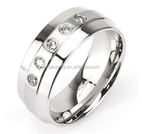 Simple Designs Wide 316L Stainless Steel Ring with clear CZ gem Band