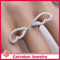 new arrival 925 solid silver high grade cubic zirconia lovely angel wing adjustable ring