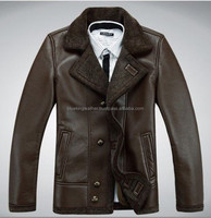 Fashion Mens winter warm genuine leather jacket
