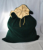 Personalized large drawstring green velvet santa bag