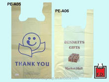 mutil-color Plastic shopping thank you bag/ HDPE T-shirt thank you bag with cheap price