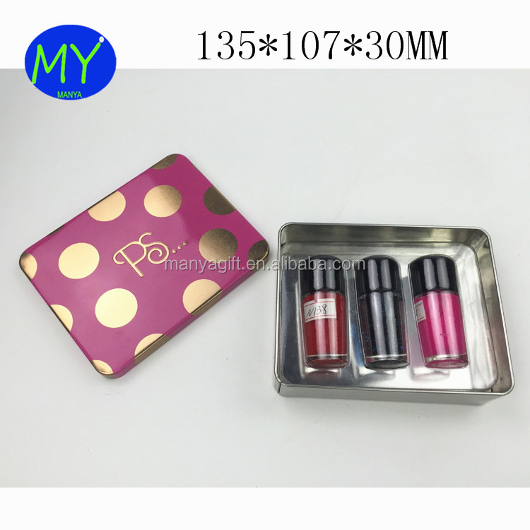 High Quality Chinese Factory Nail Polish Metal Tin Packing Box