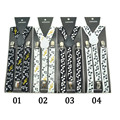 Unisex Awesome Clip-on Braces MUSIC NOTES Print Suspenders - Adjustable