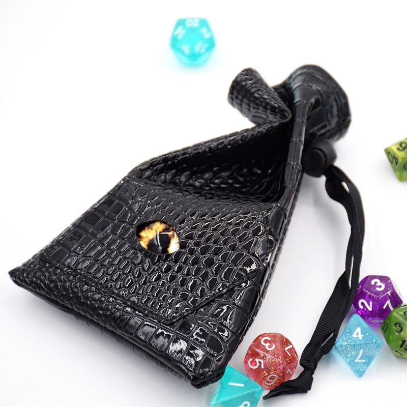 Free sample Wholesale custom logo mini drawstring black PU leather Dragon dice bag