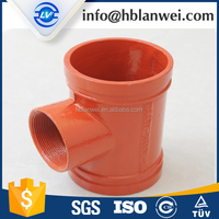 red painted grooved joint pipe fitting