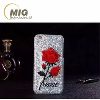 rose pattern bling sequins Hard case for iphone 5 5s 6s Mobile phone cover