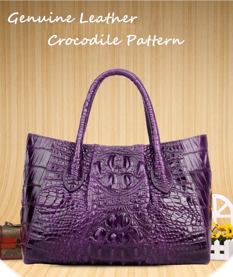 Fashion Genuine Leather Women Crocodile Pattern Messenger bags Handbags lady luxury Totes bag