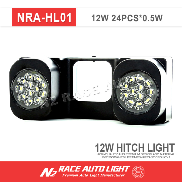 "N2 Auto Race 24 LED 2"" TRAILER TAIL TOW REVERSE / BACKUP HITCH RECEIVER LIGHTS - UNIVERSAL"