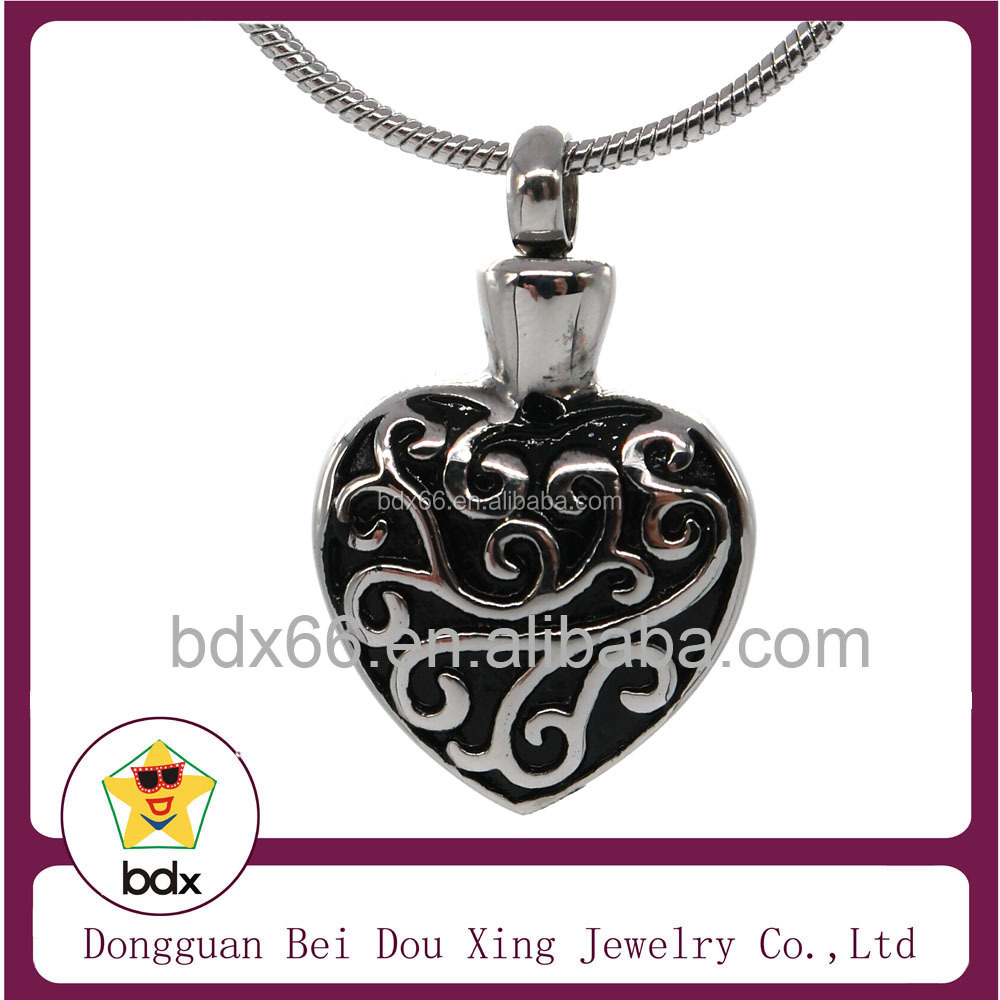 2015 Hot Sell Bottle Perfume Jewelry Black Enamel Flower Memorials Pendant Stainless Steel Cremation Urn Pendant To Put Ashes