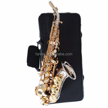 chinese musical instrument brass saxophone nickel plated small curved soprano saxophone